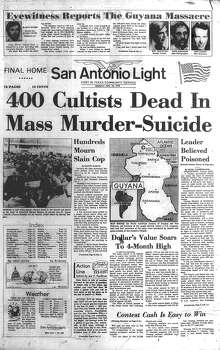 MONDAY, NOV. 20, 1978: Members of Jim Jones' Peoples Temple in Guyana commit a mass suicide, resulting in more than 900 dead. In San Antonio, hundreds mourned the death of slain San Antonio Police Officer Bernabe Salazar, who was killed during a narcotics raid Thursday. Photo: San Antonio Light Archives
