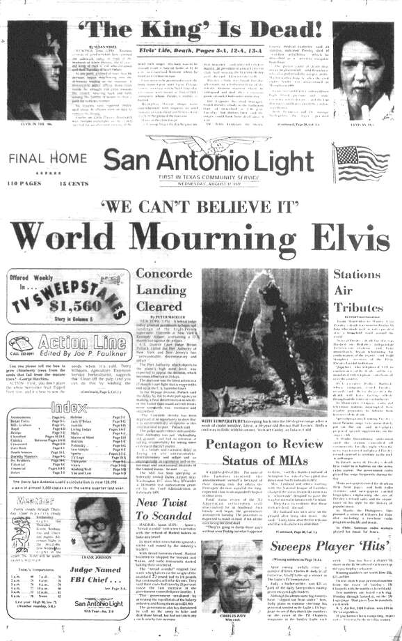 WEDNESDAY, AUG. 17, 1977: Radio stations around the world pay tribute after Elvis Presley is found dead. Photo: San Antonio Light Archives