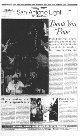 MONDAY, SEPT. 14, 1987: Hundreds of thousands line the streets to see Pope John Paul II during his one-day visit to San Antonio. The Light marks his departure with a special edition. Photo: San Antonio Light Archives