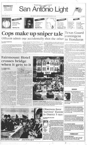 MONDAY, APRIL 1, 1985: Hundreds of spectators watch as the Fairmount Hotel crosses the Market Street Bridge during its record-setting six-day, five-block move. The hotel finally reaches its new home on April 4. Photo: San Antonio Light Archives