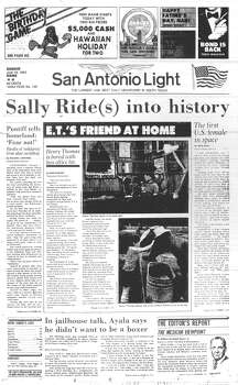 "SUNDAY, JUNE 19, 1983: Astronaut Sally Ride becomes the first U.S. woman in space as a crew member on Space Shuttle Challenger. Meanwhile, San Antonian Henry Thomas, the actor who played Elliott in the 1982 movie ""E.T.,"" is bored with the fame. Photo: San Antonio Light Archives"