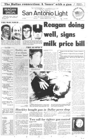 TUESDAY, MARCH 31, 1981: President Ronald Reagan is wounded by would-be assassin John Hinckley Jr. Hinckley bought the gun used in the assassination attempt in a Dallas pawn shop. Photo: San Antonio Light Archives