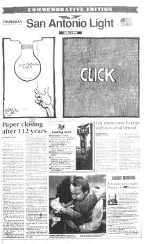 THURSDAY, JAN. 28, 1993: A commemorative last edition of the San Antonio Light is printed. Photo: San Antonio Light Archives