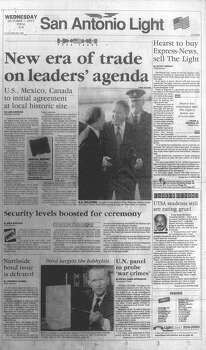 WEDNESDAY, OCT. 7, 1992: A headline announces Hearst's intention to buy the San Antonio Express-News and sell the San Antonio Light. Meanwhile, President George H.W. Bush and the leaders of Canada and Mexico were in San Antonio to initial the North American Free Trade Agreement. Photo: San Antonio Light Archives