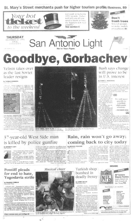 THURSDAY, DEC. 26, 1991: The Soviet Union dissolves. Photo: San Antonio Light Archives