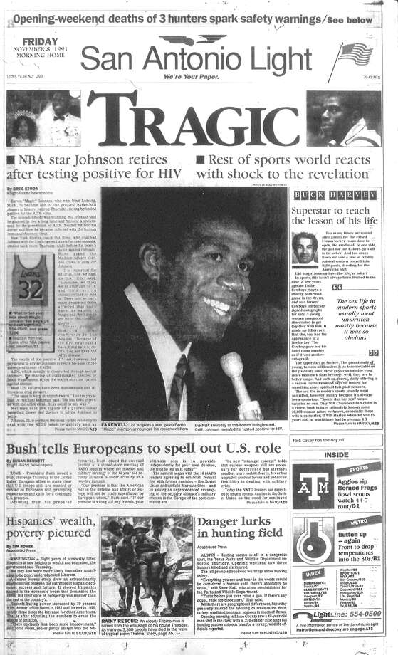 FRIDAY, NOV. 8, 1991: NBA star Magic Johnson announces his retirement from the league after he tested positive for HIV. Photo: San Antonio Light Archives