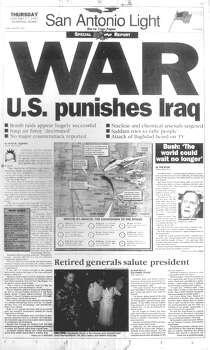 THURSDAY, JAN. 17, 1991: The United States begins the Gulf War against Iraq with an extensive aerial bombing campaign. The San Antonio Light is the first South Texas newspaper to send staffers to the Persian Gulf. Photo: San Antonio Light Archives