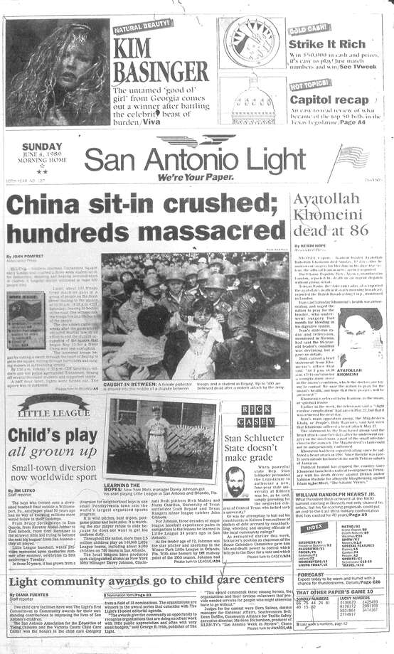 SUNDAY, JUNE 4, 1989: Hundreds of protesters are killed during a massacre in China's Tiananmen Square. Photo: San Antonio Light Archives