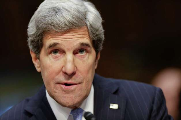 Senate Foreign Relations Chairman Sen. John Kerry, D-Mass., sits before the committee he has served on for 28 years and led for the past four as he seeks confirmation as U.S. secretary of state, Thursday on Capitol Hill in Washington.Kerry, who is likely to face friendly questioning on a smooth path to approval, is President Barack Obama's choice to succeed Secretary of State Hillary Rodham Clinton who is stepping down after four years as America's top diplomat. Photo: AP
