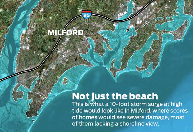 What a 10-foot storm surge would look like in Milford.  Photo: Tim Guzda/Staff Graphic