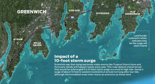 Impact of a 10-foot storm surge in Greenwich. Photo: Tim Guzda/Staff Graphic