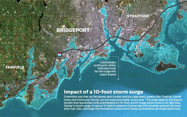 Impact of a 10-foot storm surge in the Bridgeport area. Photo: Tim Guzda/Staff Grahpic