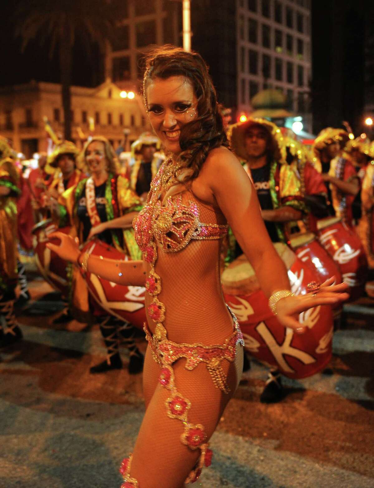 A dancer performs during the inaugural parade of the Uruguayan carnival on Friday in Montevideo.