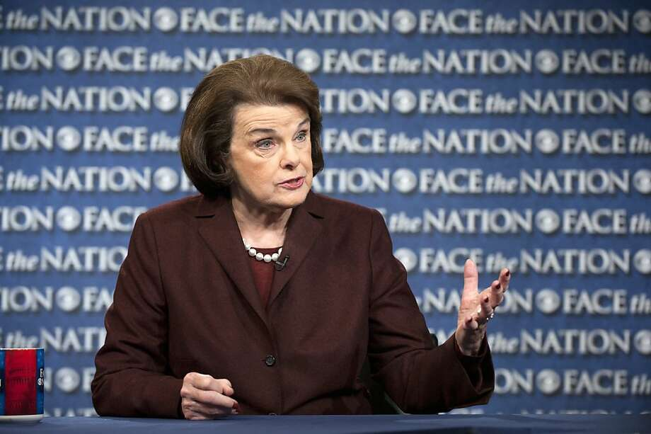 "Sen. Dianne Feinstein addresses her proposed law banning 157 different assault weapons on ""Face the Nation."" Photo: Handout, Getty Images"
