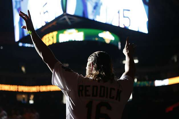 Oakland Athletics outfielder Josh Reddick is introduced to fans at the A's Fanfest at the Oracle Arena on Sunday, January 27, 2013 in Oakland, Calif. Photo: Beck Diefenbach, Special To The Chronicle