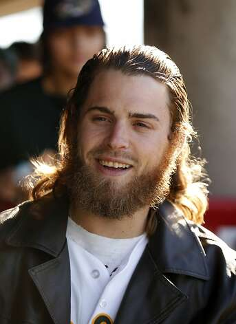 Oakland Athletics outfielder Josh Reddick sports his new beard at the A's Fanfest at the Oracle Arena on Sunday, January 27, 2013 in Oakland, Calif. Photo: Beck Diefenbach, Special To The Chronicle