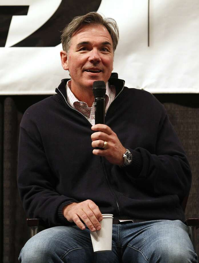 Oakland Athletics general manager Billy Beane talks during a questions and answers session at the A's Fanfest at the Oracle Arena on Sunday, January 27, 2013 in Oakland, Calif. Photo: Beck Diefenbach, Special To The Chronicle