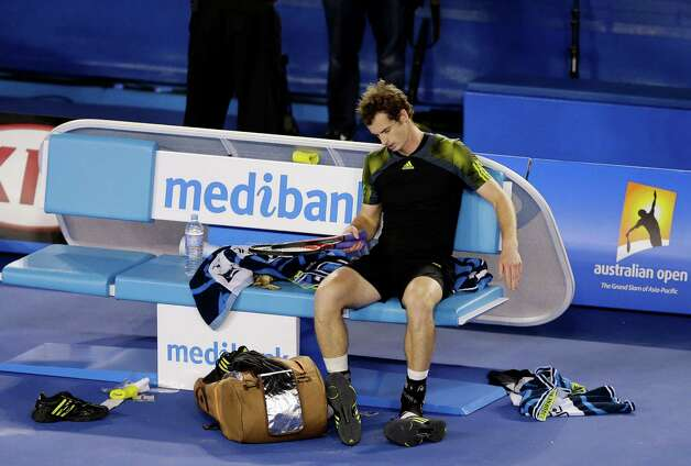 Britain's Andy Murray rests after his loss to Serbia's Novak Djokovic in the men's final at the Australian Open tennis championship in Melbourne, Australia, Sunday, Jan. 27, 2013. (AP Photo/Andy Wong) Photo: Andy Wong