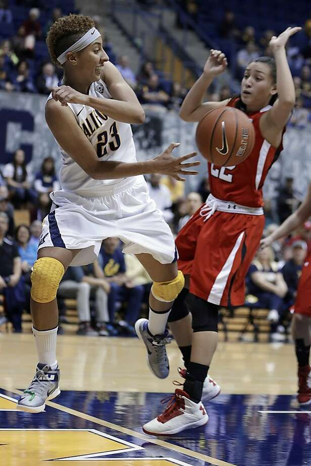 California's Layshia Clarendon, left, passes away from Utah's Danielle Rodriguez in the second half of an NCAA college basketball game Sunday, Jan. 27, 2013, in Berkeley, Calif. (AP Photo/Ben Margot) Photo: Ben Margot, Associated Press