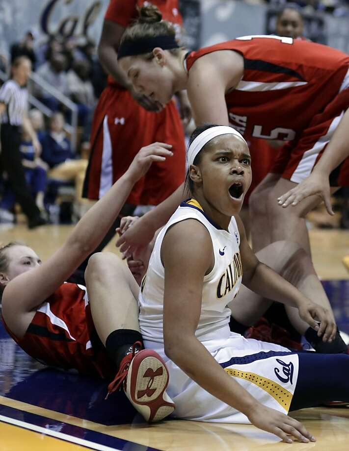 California's Brittany Boyd, right, reacts to a foul called against her in the second half of an NCAA college basketball game against Utah on Sunday, Jan. 27, 2013, in Berkeley, Calif. (AP Photo/Ben Margot) Photo: Ben Margot, Associated Press