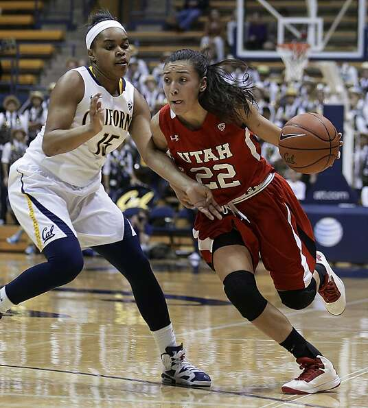 Utah's Danielle Rodriguez, right, drives the ball against California's Brittany Boyd in the first ha