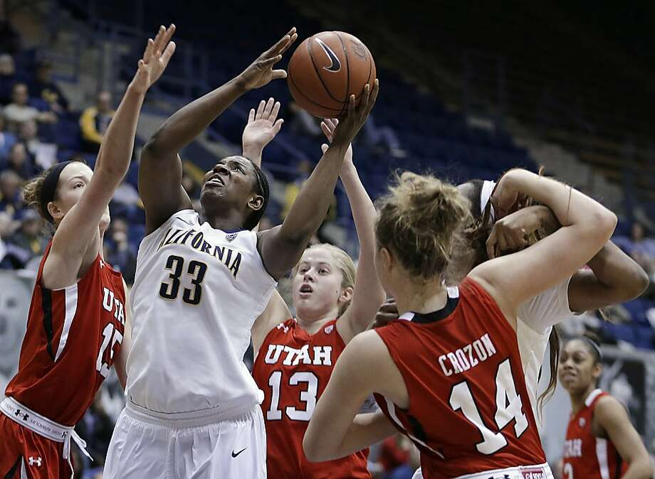 California's Talia Caldwell (33) shoots against Utah's Michelle Plouffe, left, Rachel Messer (13) and Paige Crozon (14) in the second half of an NCAA college basketball game Sunday, Jan. 27, 2013, in Berkeley, Calif. (AP Photo/Ben Margot) Photo: Ben Margot, Associated Press