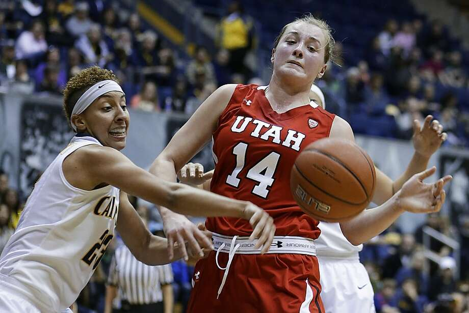 California's Layshia Clarendon, left, knocks the ball away from Utah's Paige Crozon (14) during the first half of an NCAA college basketball game Sunday, Jan. 27, 2013, in Berkeley, Calif. (AP Photo/Ben Margot) Photo: Ben Margot, Associated Press