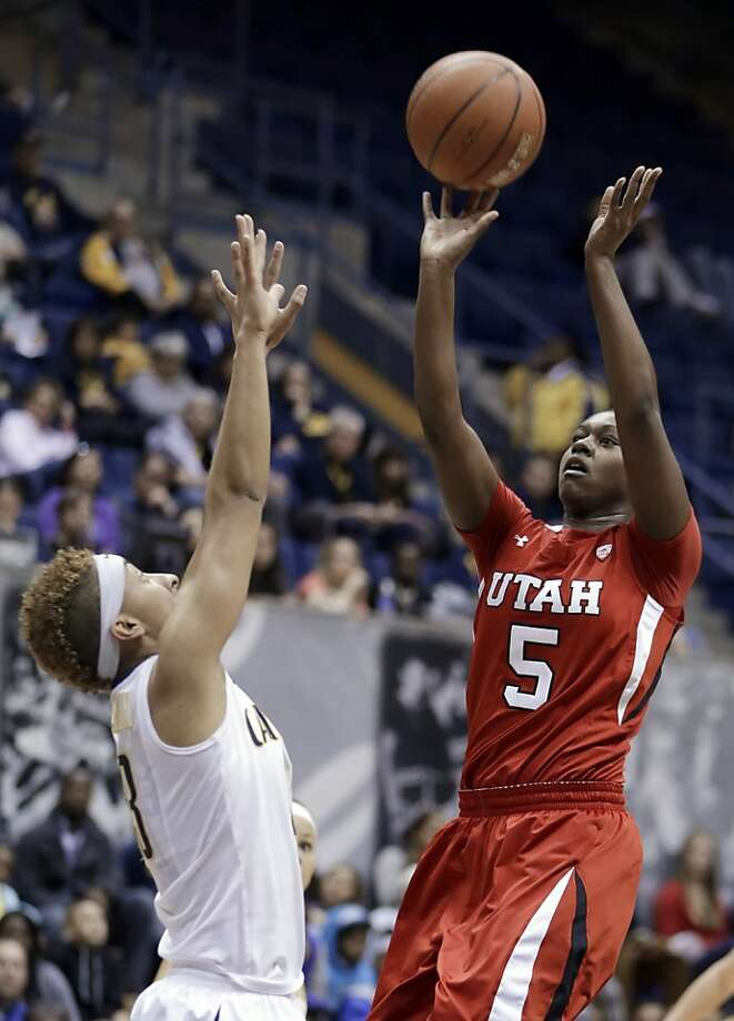 Utah's Cheyenne Wilson (5) shoots over California's Layshia Clarendon in the first half of an NCAA college basketball game Sunday, Jan. 27, 2013, in Berkeley, Calif. (AP Photo/Ben Margot) Photo: Ben Margot, Associated Press
