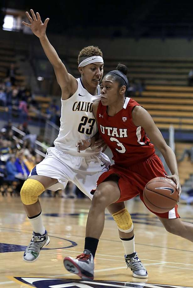 Utah's Iwalani Rodrigues, right, drives the ball against California's Layshia Clarendon (23) during the first half of an NCAA college basketball game Sunday, Jan. 27, 2013, in Berkeley, Calif. (AP Photo/Ben Margot) Photo: Ben Margot, Associated Press