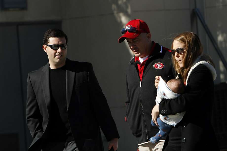 CEO Jed York, left, leaves the 49ers practice facility in Santa Clara, Calif., Sunday, January 27, 2013, for New Orleans and the Super Bowl. Photo: Sarah Rice, Special To The Chronicle