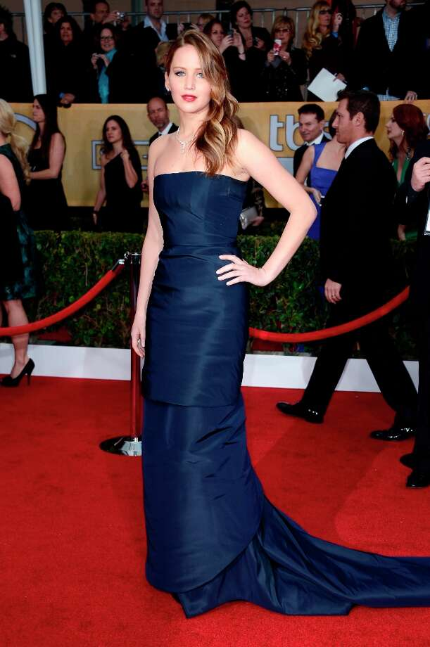 Actress Jennifer Lawrence arrives at the 19th Annual Screen Actors Guild Awards held at The Shrine Auditorium on January 27, 2013 in Los Angeles, California. Photo: Frazer Harrison, Getty Images / 2013 Getty Images