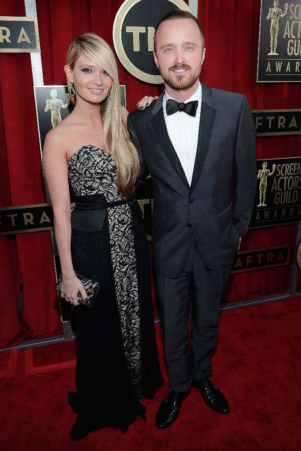 LOS ANGELES, CA - JANUARY 27:  Actor Aaron Paul (R) and Lauren Parsekian arrive at the 19th Annual Screen Actors Guild Awards held at The Shrine Auditorium on January 27, 2013 in Los Angeles, California. Photo: Kevork Djansezian, Getty Images / 2013 Getty Images