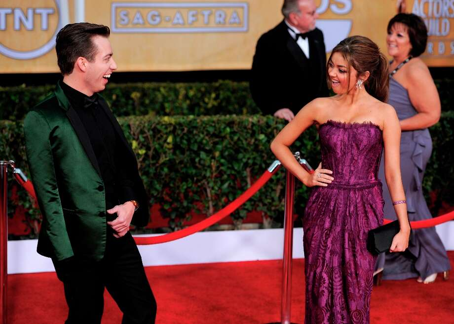 Actors Kevin McHale, left, and Sarah Hyland arrive at the 19th Annual Screen Actors Guild Awards at the Shrine Auditorium in Los Angeles on Sunday, Jan. 27, 2013. (Photo by Chris Pizzello/Invision/AP) Photo: Chris Pizzello, Associated Press / Invision