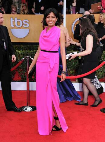 Actors Freida Pinto arrives at the 19th Annual Screen Actors Guild Awards at the Shrine Auditorium in Los Angeles on Sunday Jan. 27, 2013. (Photo by Jordan Strauss/Invision/AP) Photo: Jordan Strauss, Associated Press / Invision