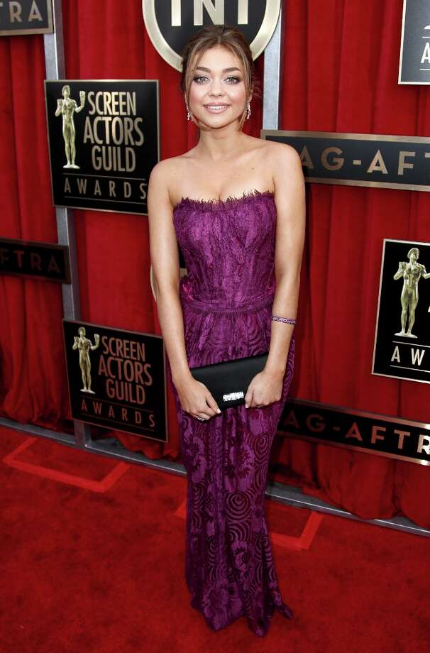 Actress Sarah Hyland arrives at the 19th Annual Screen Actors Guild Awards at the Shrine Auditorium in Los Angeles on Sunday Jan. 27, 2013. (Photo by Matt Sayles/Invision/AP) Photo: Matt Sayles, Associated Press / Invision