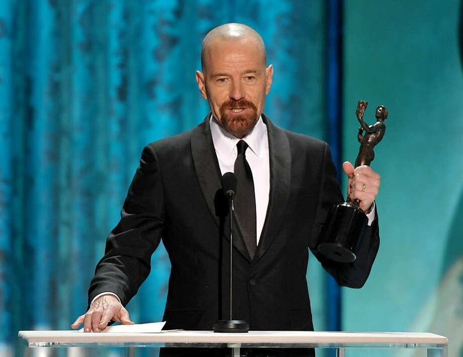 "Bryan Cranston accepts the award for outstanding male actor in a drama series for ""Breaking Bad"" at the 19th Annual Screen Actors Guild Awards at the Shrine Auditorium in Los Angeles on Sunday Jan. 27, 2013. (Photo by John Shearer/Invision/AP) Photo: John Shearer, Associated Press"