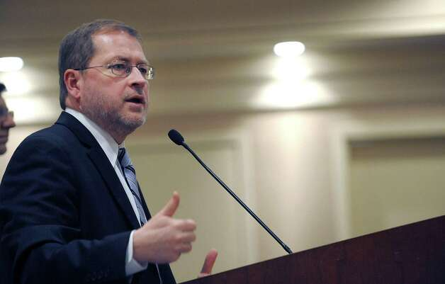 Grover Norquist of Americans for Tax Reform addresses those gathered at The Conservative Party Political Annual Conference (CPPAC)  at the Holiday Inn on Sunday, Jan. 27, 2013 in Albany, NY.  (Paul Buckowski / Times Union) Photo: Paul Buckowski  / 00020907A