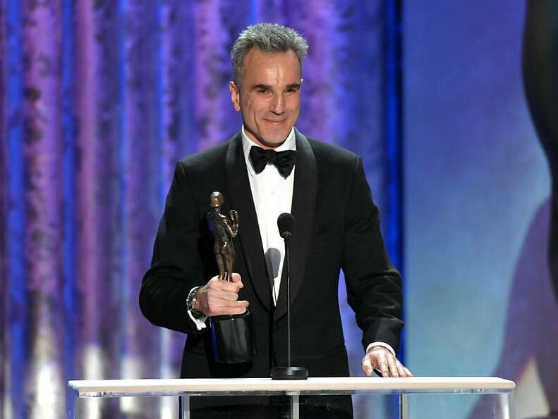 "Daniel Day-Lewis accepts the awards for outstanding male actor in a leading role for ""Lincoln"" a"