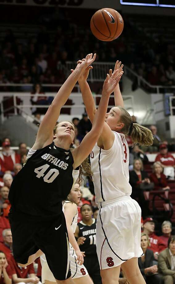 Colorado 's Rachel Hargis (40) shoots next to Stanford 's Mikaela Ruef (3) during the first half of an NCAA college basketball game in Stanford, Calif., Sunday, Jan. 27, 2013. (AP Photo/Marcio Jose Sanchez) Photo: Marcio Jose Sanchez, Associated Press