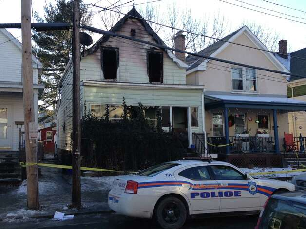 The scene of a fire at 12 Arcadia Ave. in Albany where someone died Jan. 27, 2013. (Staff writer Bryan Fitzgerald)