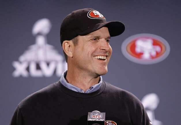 Head coach Jim Harbaugh talks with the media as the San Francisco 49ers hold their first press conference after arriving in New Orleans Louisiana  on Sunday Jan. 27,  2013. Photo: Michael Macor, The Chronicle