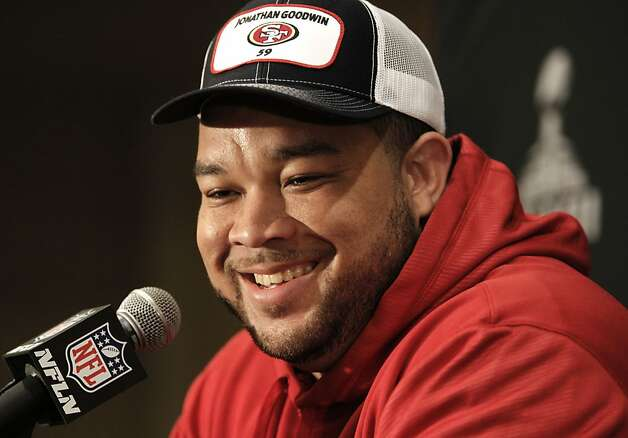 Center Jonathan Goodwin talks with reporters as the San Francisco 49ers hold their first press conference after arriving in New Orleans Louisiana  on Sunday Jan. 27,  2013. Photo: Michael Macor, The Chronicle