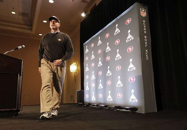 Head coach Jim Harbaugh finishes his first press conference after the San Francisco 49ers' arrived in New Orleans Louisiana  on Sunday Jan. 27,  2013. Photo: Michael Macor, The Chronicle