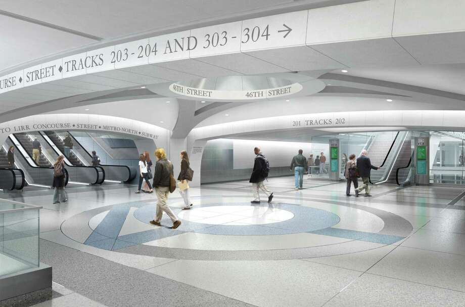 Artist rendering of the $8.24 billion East Side Access Project that will bring Long Island Railroad commuters directly into Grand Central. The project lies 15 stories beneath Grand Central and will be the terminal's largest expansion in its 100-year history. The project features many design cues from the historic terminal with gentle arches and the same stone materials on the finish. The project is scheduled to be completed by 2019. Photo: Contributed Photo