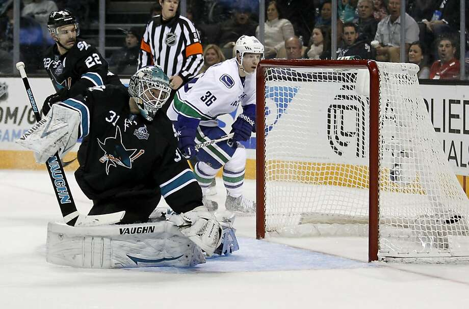 San Jose Sharks goalie Antti Niemi (31), of Finland, looks back into the net after Vancouver Canucks center Alex Burrows, not seen, scored a goal during the second period of an NHL hockey game in San Jose, Calif., Sunday, Jan. 27, 2013. (AP Photo/Tony Avelar) Photo: Tony Avelar, Associated Press