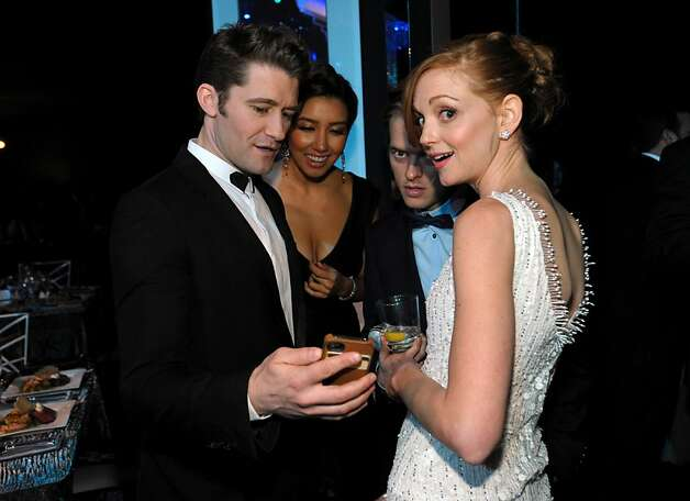 From left, Matthew Morrison, Renee Puente and Jayma Mays speak in the audience at the 19th Annual Screen Actors Guild Awards at the Shrine Auditorium in Los Angeles on Sunday Jan. 27, 2013. (Photo by John Shearer/Invision/AP) Photo: John Shearer, Associated Press