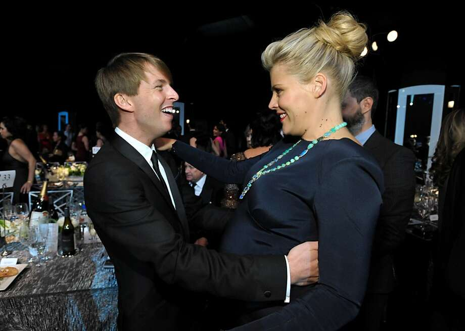 Jack McBrayer, left, and Busy Phillips appear in the audience at the 19th Annual Screen Actors Guild Awards at the Shrine Auditorium in Los Angeles on Sunday Jan. 27, 2013. (Photo by John Shearer/Invision/AP) Photo: John Shearer, Associated Press