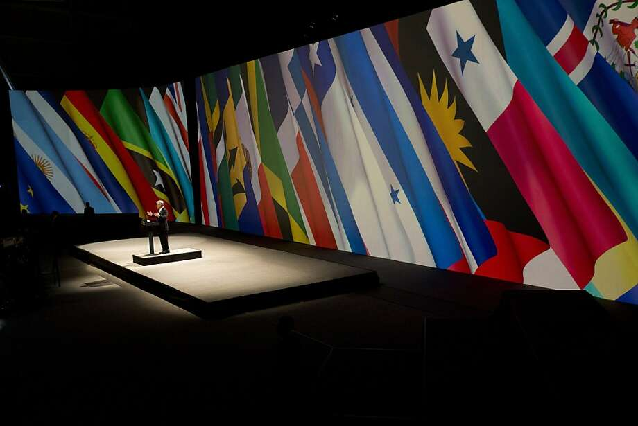 "Chile's President Sebastian Pinera delivers a speech during the closing ceremony of the CELAC-EU summit in Santiago, Chile, Sunday, Jan. 27, 2013. A 60-nation summit wrapped up in Chile on Sunday with leaders from the European Union, Latin America and the Caribbean renewing calls for giving investors ""legal certainty"" and dropping barriers to trade between economies that together represent a billion people and $280 billion in commerce. Photo: Victor R. Caivano, Associated Press"
