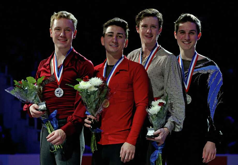 OMAHA, NE - JANUARY 27:  (L-R) Ross Miner, Max Aaron, Jeremy Abbott and Joshua Farris pose on the winner's stand after the Men's Free Skate competition during the 2013 Prudential U.S. Figure Skating Championships at CenturyLink Center on January 27, 2013 in Omaha, Nebraska.  (Photo by Jonathan Daniel/Getty Images) Photo: Jonathan Daniel, Staff / 2013 Getty Images