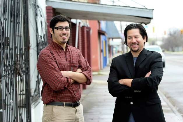 Gilbert Morales and Andy Castillo are two residents who have been working to redevelop the properties along West Southcross Boulevard area. They founded the South San Main Street Project, which is an effort to create a safe, walkable area in the Quintana neighborhood. Photo: Helen L. Montoya, San Antonio Express-News / ©2013 San Antonio Express-News